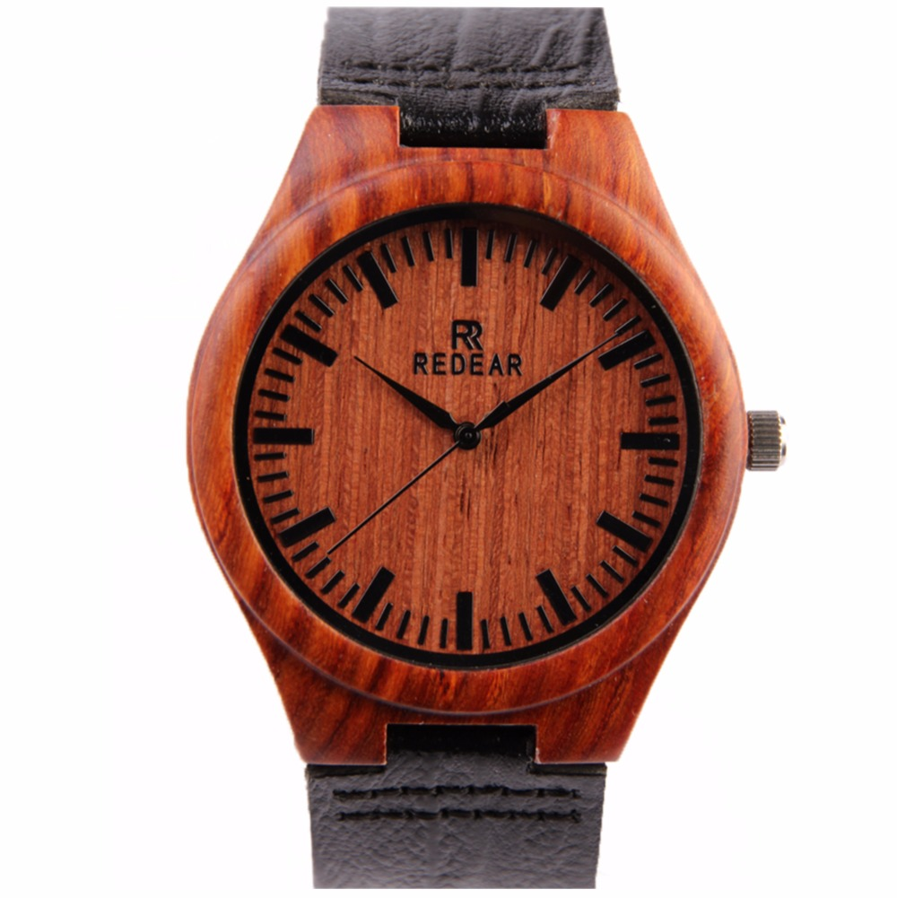 ФОТО 2016 New Fashion REDEAR Watches Vintage Watch Wood Fashion Wooden Watches With Genuine Cowhide Leather Band Luxury Wood Watches