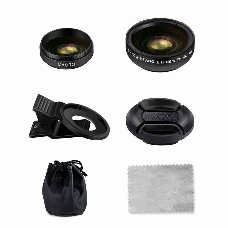 TURATA Fisheye Lens 2 in 1 Professional HD Phone Camera Lens Kit 0.45X Wide Angle+12.5X Macro Clip-on Fish Eye for Smartphone 13
