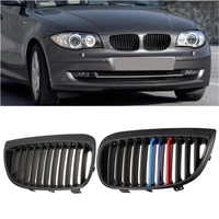 Pair Left & Right Car Front Sport Kidney Grill Grilles Matt Black For BMW E87 E81 1 Series 2004 2007