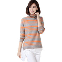 Spring Fashion Cashmere Sweater Cardigan Women Turtleneck Knitted Striped Pullovers Sweater Female Casual Full Sleeve Sweater