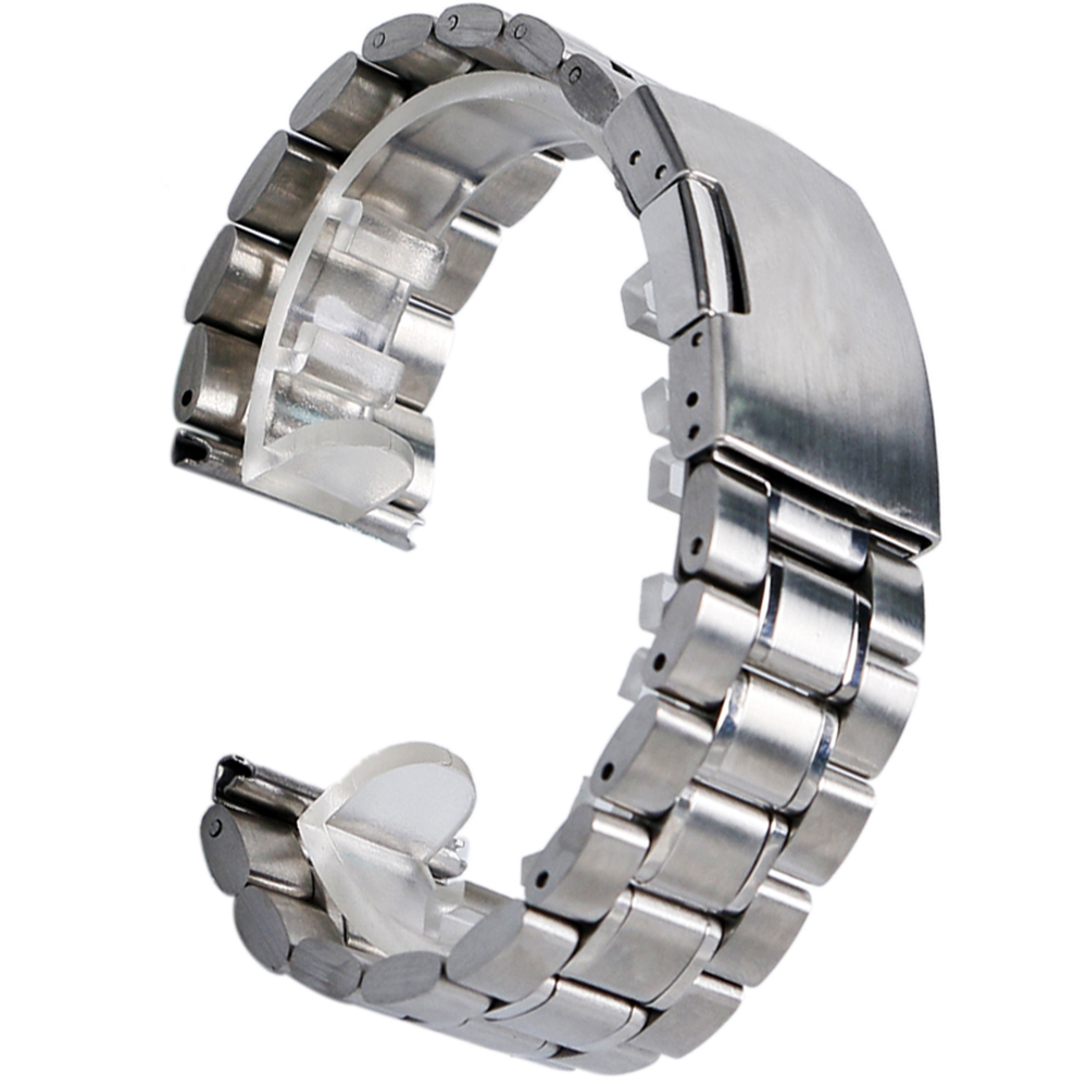 High Quality Fashion Silver New Mens Black Stainless Steel Watch Band Metal Bracelets For Men Wrist Watches