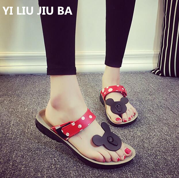 New flats Women Summer Non-slip Shoes Woman Outdoor Beach Slippers Cute Mickey casual flip flops Sandals zapatos mujer **379 slip-on shoe