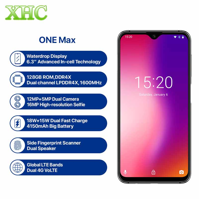 Global Version UMIDIGI ONE MAX 4G RAM 128GB ROM Mobile Phone Helio P23 Android 8.1 Wireless Charge Dual SIM FCC NFC Smartphone