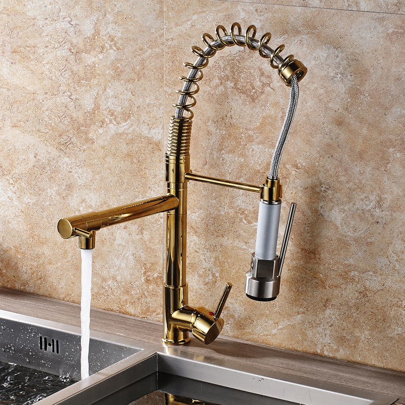 Luxury Golden Brass Pull Down Spring Kitchen Faucet Swivel Spout Single Handle Hole Vanity Sink Mixer Tap Hot and Cold Water chrome brass kitchen faucet spring vessel sink mixer tap hot and cold tap swivel spout single handle hole