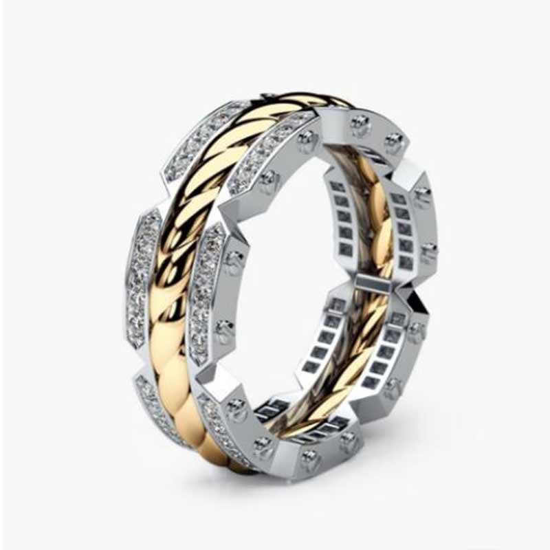 HUITAN Persönlichkeit Unisex Casual Ring Kreative Reifen Geformt Engagement Ring Twist Zwei Ton Elegante Gleiche Geschlecht Ring Dropshipping