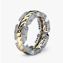 HUITAN Personality Unisex Casual Ring Creative Tyre Shaped Engagement Twist Two Tone Elegant Same Gender Dropshipping