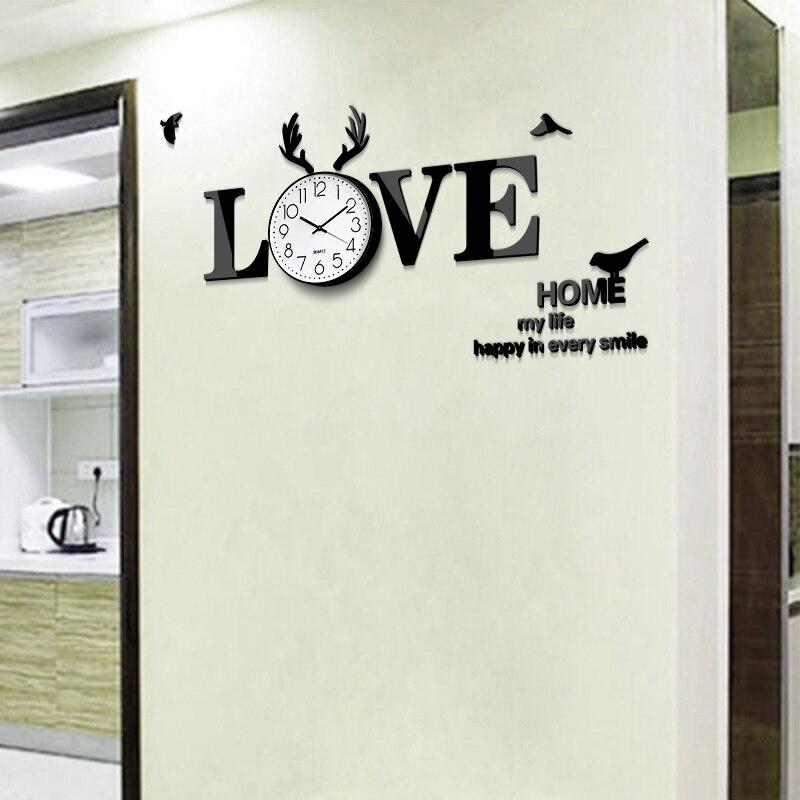 Акриловые Любовь 3D стены Настенная Наклейка часы Творческий немой Nordic для жилой комнаты, современный стиль DIY self декоративная наклейка живо... - 2