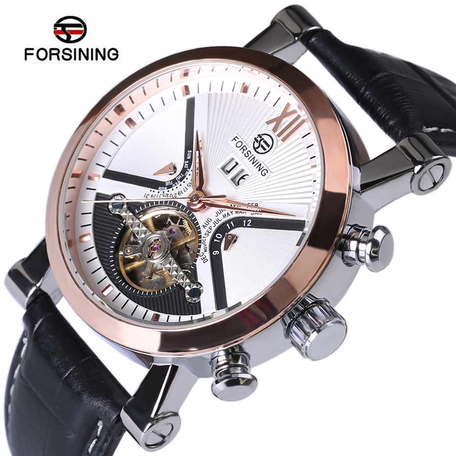 Luxury Brand Automatic Tourbillon Watch Calendar Date Day Display Gold Case Male Clock Sport Mechanical Tag Hour Watches Men forsining multifunction tourbillon date day display rose golden watch men luxury brand automatic watch fashion men sport watches