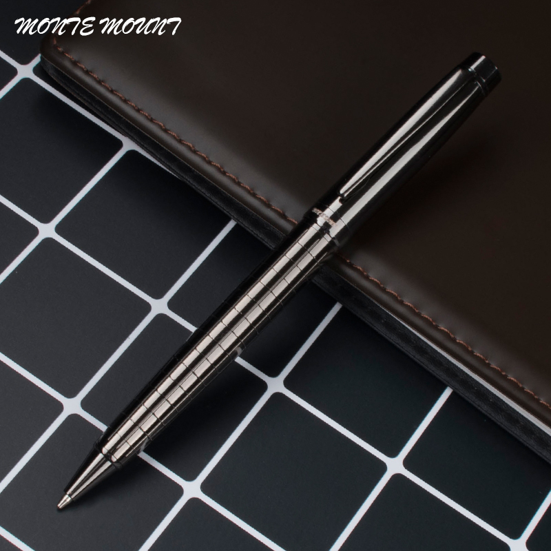 цены MONTE MOUNT High Quality Gray/Silver space Cross Line Business office Medium Nib Ballpoint Pen New