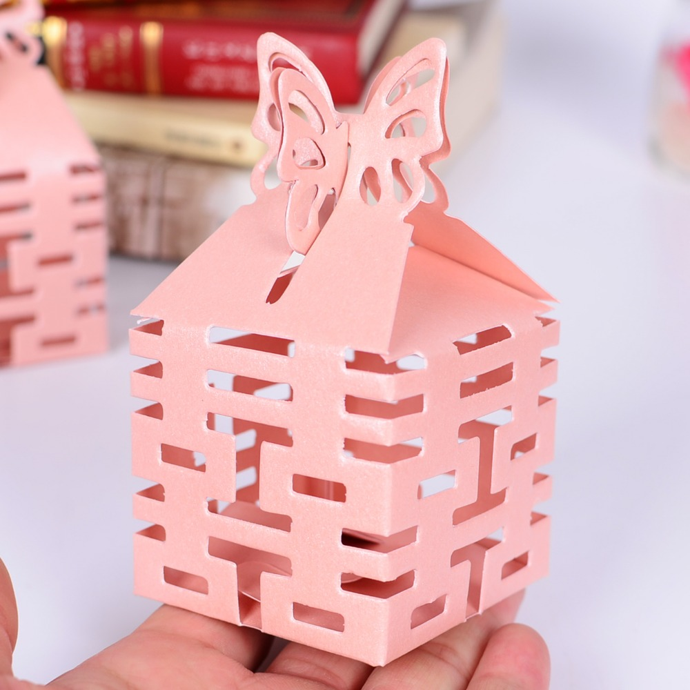 100pcs Pearl Paper Double Happiness Hollow Candy Boxes for Wedding ...
