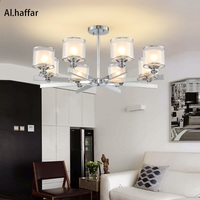 Modern LED Chrome color metal Crystal Chandeliers Lighting Pendant with double glass shades Fixture Lamp For living room