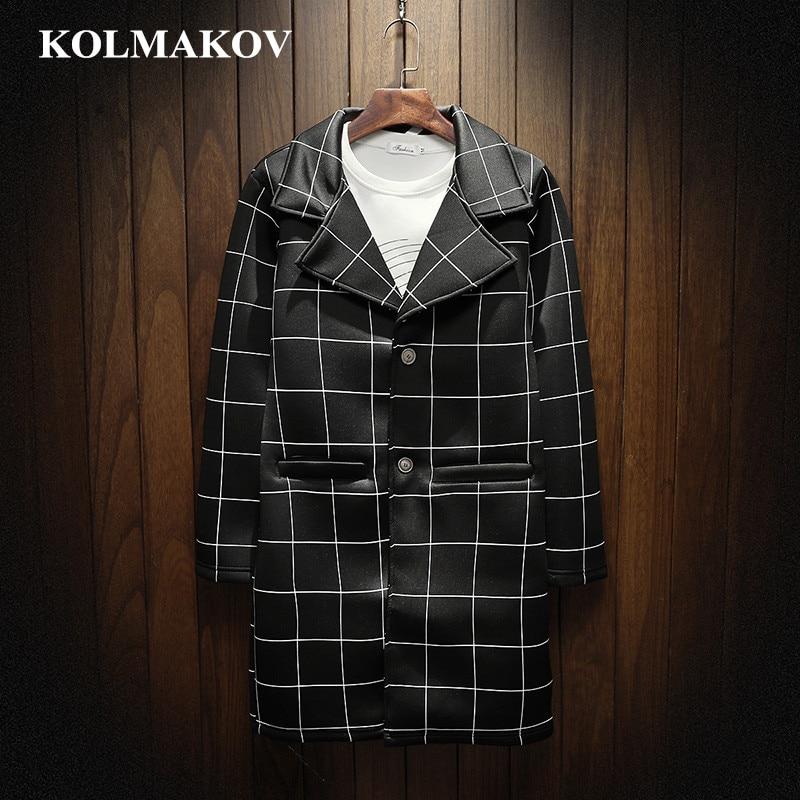 KOLMAKOV New Men's Clothing Mens Classic Plaid Windbreakers Spring Men's   Trench   Coats Light Cotton Outerwear Coats Men M-3XL