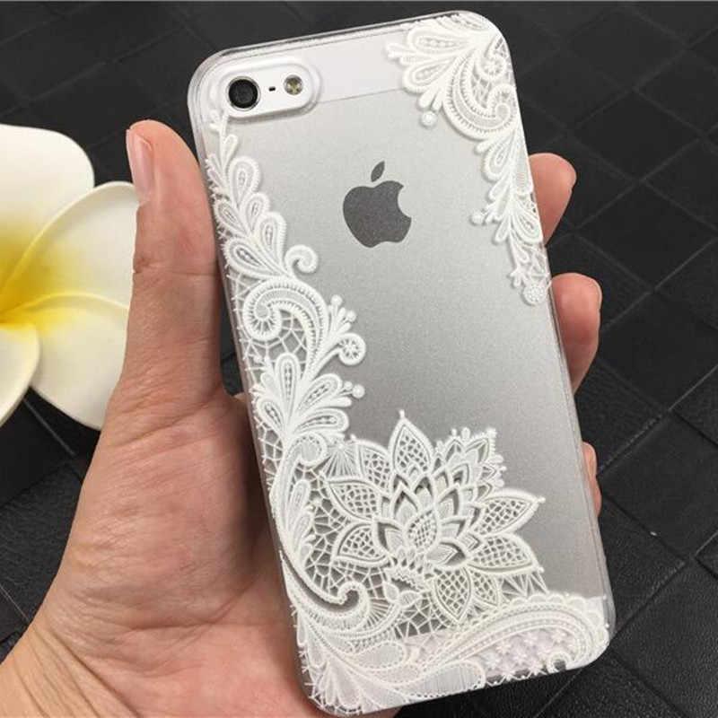 DS-LOVEHUI Mode Sexy Kant Datura Bloem Case Voor iphone 6 6 s 7 8 5 s 5 SE Mooie Mandala Bloemen Telefoon Case Cover Coque Capa