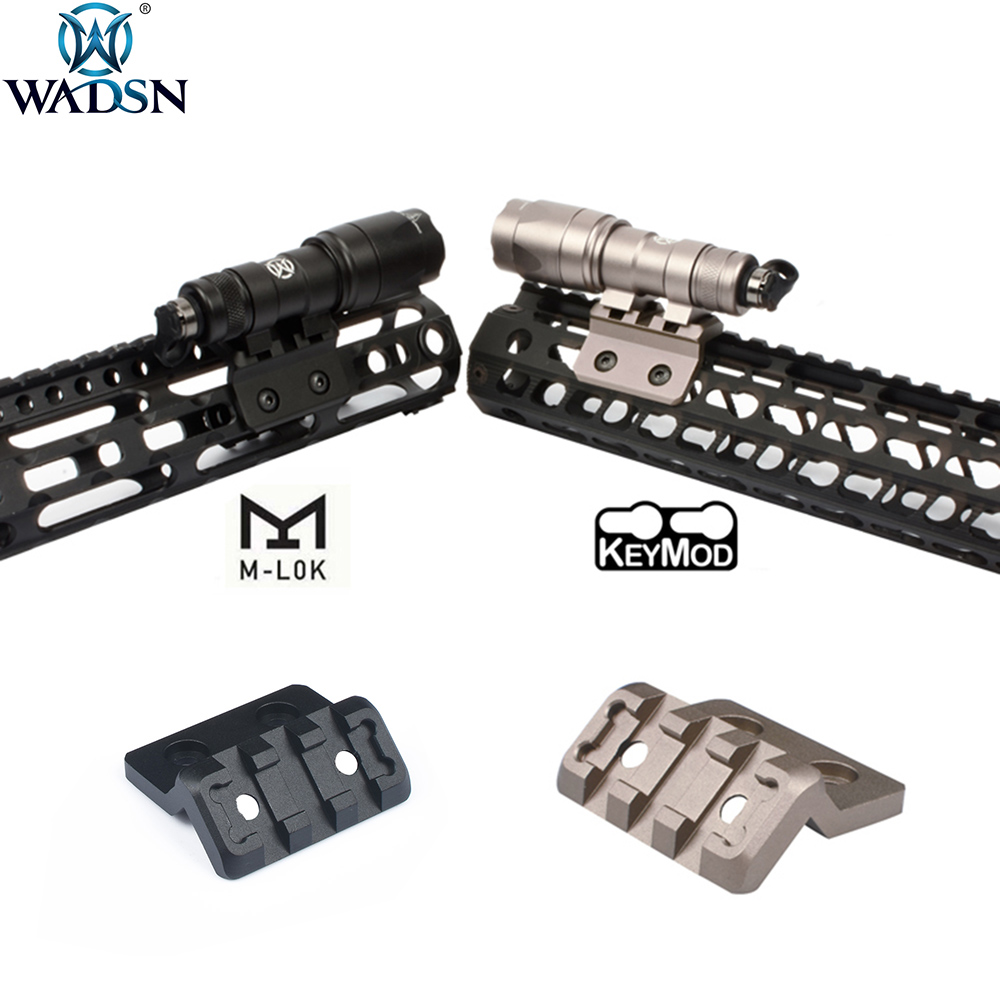 WADSN Airsoft M-LOK Picatinny M Lok Keymod Offset Rail Mount For Surefir M300 M600 Tactical Weapon Flashlight Scout Riflescope
