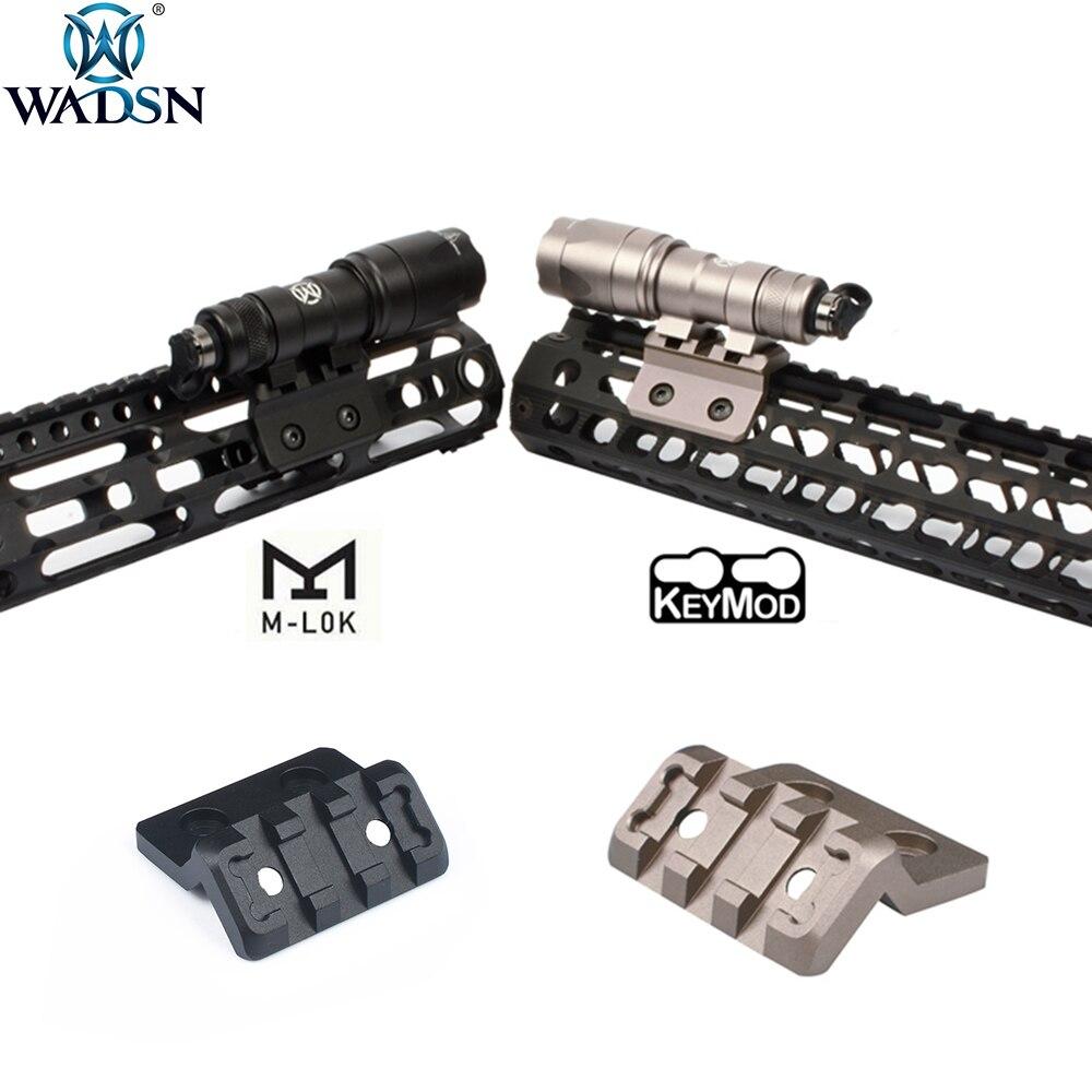 WADSN Airsoft M-LOK Picatinny M Lok Keymod support de Rail Offset pour Surefir M300 M600 arme tactique lampe de poche Scout lunette de visée
