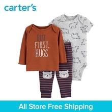 3pcs babysoft cotton cute slogan stripes bear print clothing Set Carter's baby boy spring autumn clothing 126H779
