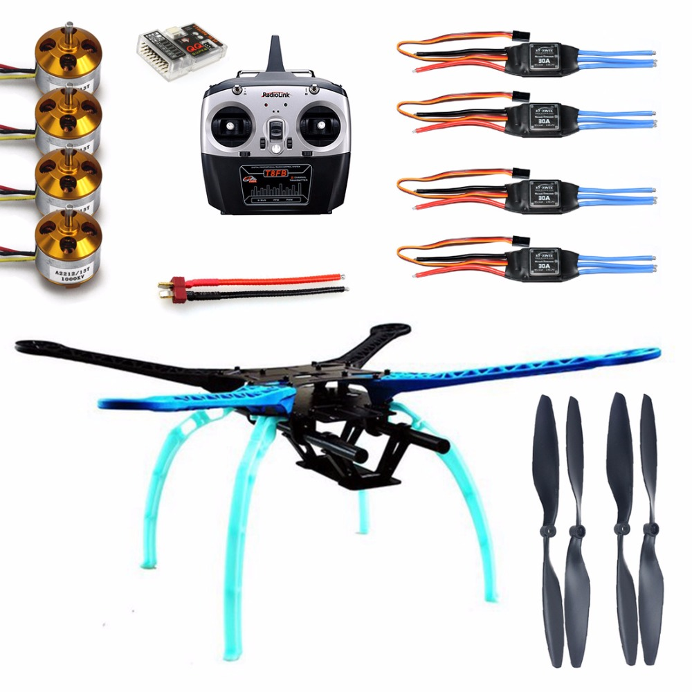 DIY 500mm Multi-Rotor Air Frame Kit Drone S500 w/ Landing Gear ESC Motor Welded QQ SUPER Control Board T8FB 8CH RX&TX Propellers