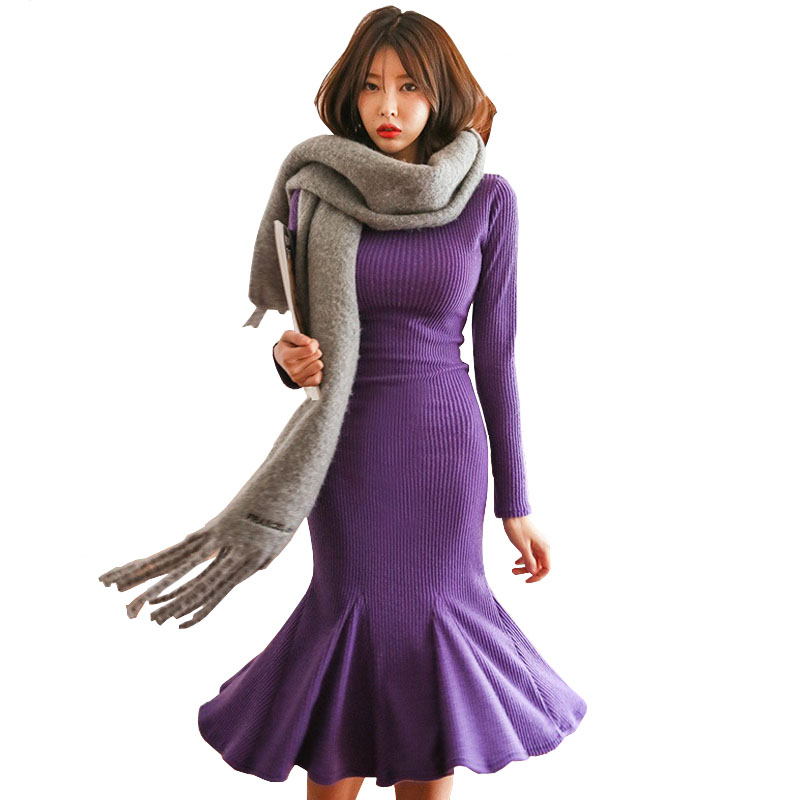 2018 New Arrivals Women Sweater Dresses Warm Purple Long Sleeve Knitted Bodycon Midi Fishtail Mermaid Dress Girl Winter Clothes new 2017 hats for women mix color cotton unisex men winter women fashion hip hop knitted warm hat female beanies cap6a03