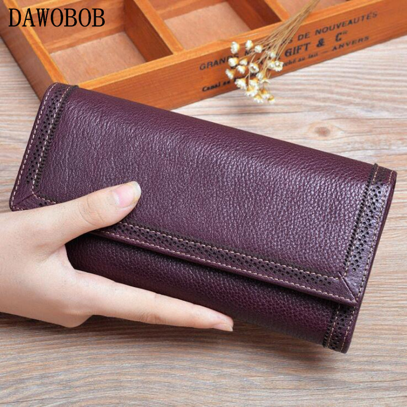 2018 Vintage en cuir de vachette portefeuilles femmes marque Design évider Long sac à main téléphone pochette sac à main femmes luxe embrayage sacs à main