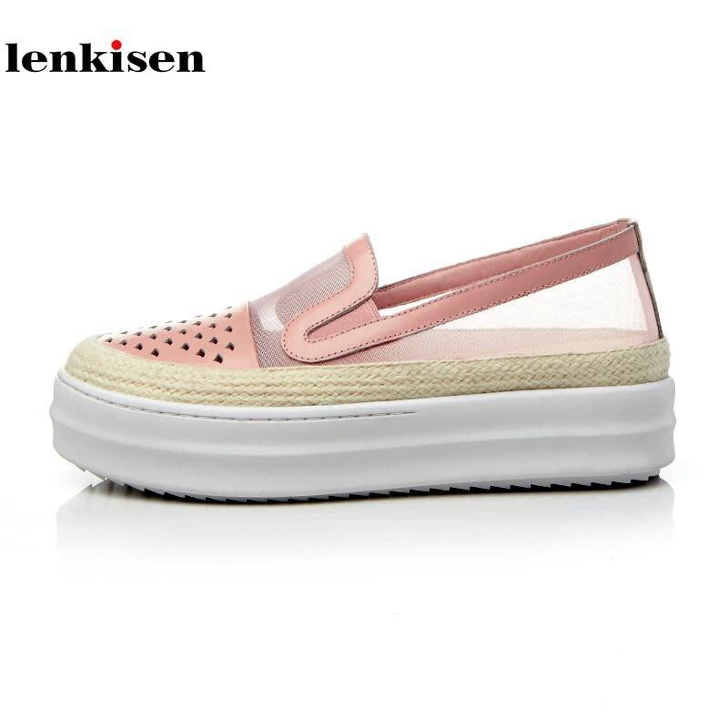 Lenkisen 2018 genuine leather round toe slip on platform spring causal et yarn shoes med heel runway women vulcanized shoes L33
