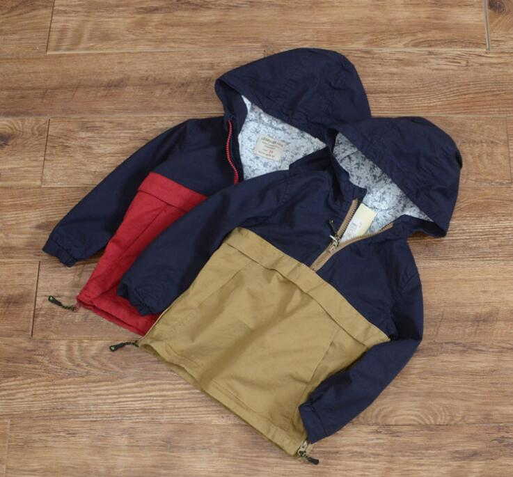 New Children Boys Stitching pullover coat autumn kids Hooded jacket Wholesale 2016