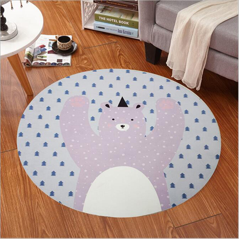 60-120cm Kid Room Play Carpet Livingroom Computer Chair Hanging Basket Puzzle Mat Kids Bedroom Carpet Cartoon Bear/Fox Round Rug