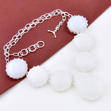 Luckyshine New Arrive Style Women Jewelry Accessories Fashion Huge Moonstone Stone Silver Plated Jewelry Statement Necklacen0666