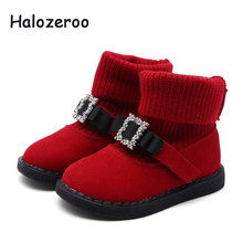 bfc8872a84c24 Halozeroo nouveau bébé fille arc bottes enfants strass chaud chaussures  enfant en bas âge troupeau noir bottes hiver mode doux m.