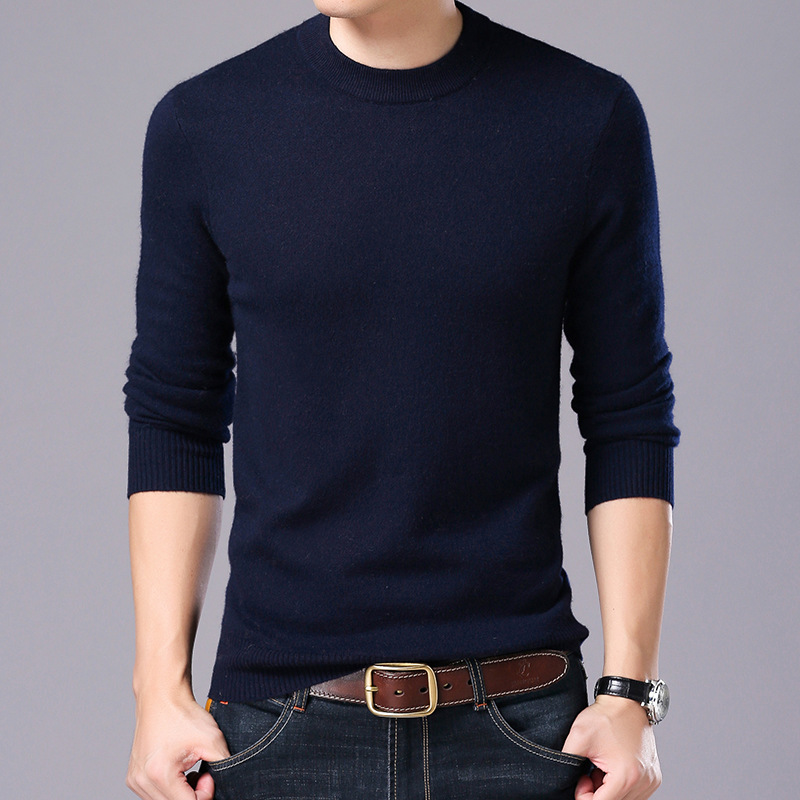 MRMT 2019 Brand New Men's Sweater Bottoming Shirt Autumn And Winter Men's Sweater Thick Casual Solid Sweater