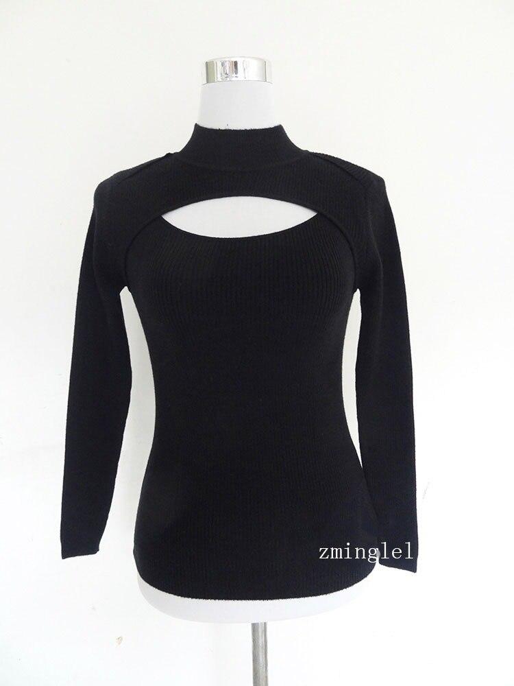 Сексуальный милый горячий японский аниме стиль зима Открытая грудь водолазка воротник свитер косплей с ожерельем - Цвет: Black