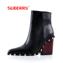 SUBERRY Sexy Shoes US Size 9 Women Rivet Short Boots Thick High Heels Pointed Toe Zipper Boots 2017 Women Brand Boots Leathe