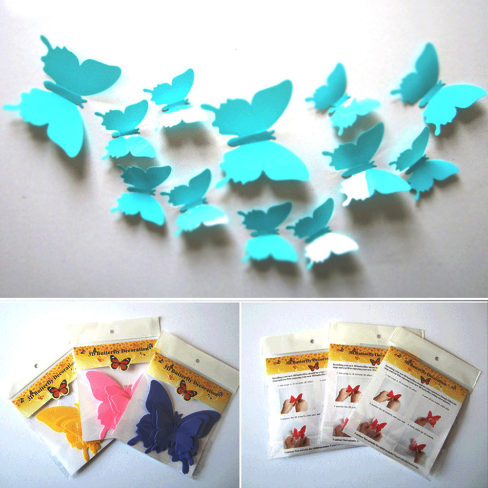 12pcs set pvc 3d diy butterfly butterfly wall for Adhesive decoration