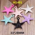 O Envio gratuito de 30 Pçs/lote Estrelas Coloridas Encantos Liga DIY Resultados Da Jóia Acessório Pulseira Material de Colar de Metal Pingente Charme