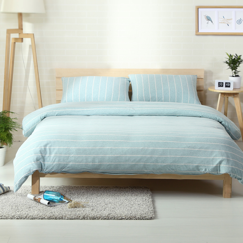 4pcs 100% Cotton Jersey Knitted Bedding Sets Light Aqua Blue And White  Stripe Bedlinen For