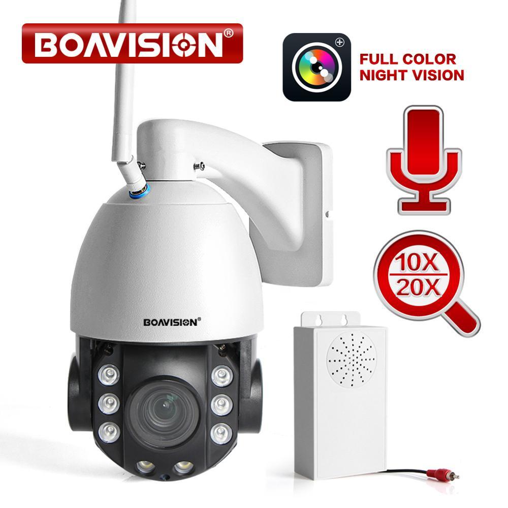HD 2MP 10X PTZ Dome IP Cam WI-FI Sem Fio/20X Zoom Ótico Ao Ar Livre Segurança de Vídeo CCTV Cam em Dois Sentidos áudio Luz Branca 80 M IR
