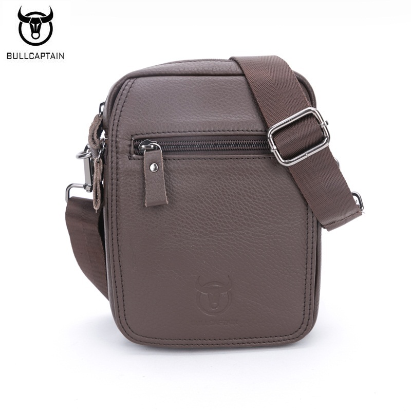 BULLCAPTAIN Brand New Small Men s Bag Genuine Leather Men Casual Fashion Shoulder Crossbody Bags Cowhide