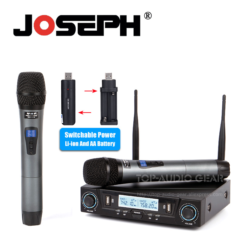 buy free shipping uhf li ion battery 2 x handheld mic professional wireless. Black Bedroom Furniture Sets. Home Design Ideas