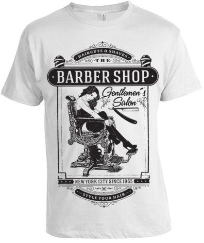 5a3e4a6a Gentlemans Salon Barber Shop T-Shirt Mens womens new york pinup hipster  vintage New T