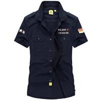 Men Plus Size M 5XL Cotton Military Cargo Shirt Men Short Sleeve Summer Army Tactical Men Shirts