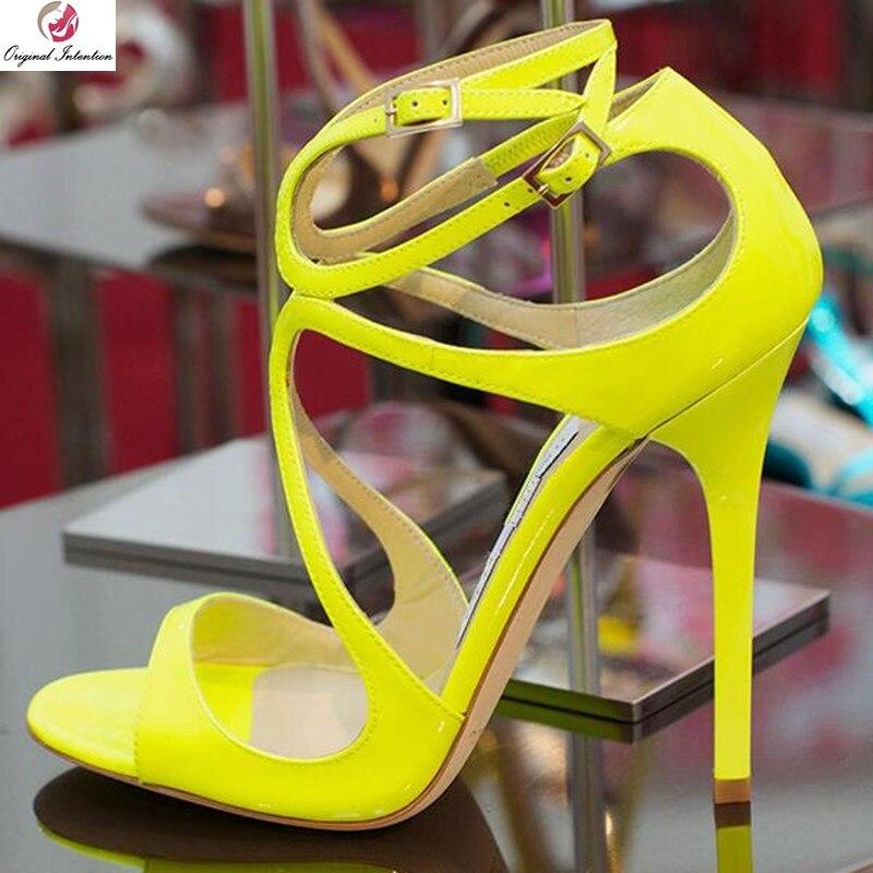 Original Absicht Neue Mode Frauen Sandalen Offene spitze Heels Sandalen Gelb Sommer 2019 Schuhe Frau Plus Größe 4 20-in Hohe Absätze aus Schuhe bei  Gruppe 1