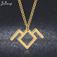 Jisensp Geometric Twin Peaks Necklace for Women Long Chain Necklaces Pendants Fashion Jewelry Stainless Steel Collier Femme(China)