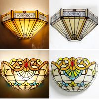 Luxury Tiffany Colorful Glass Bedroom BEDSIDES Wall Lamp Mediterranean Beads Flowers Semi Circle Hotel Club Corridor Wall Lights