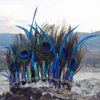 Mardi Gras Peacock Crystal Headdress Rainbow Aura Quartz Crystal Crown Purple Green and Blue Peacock Headband