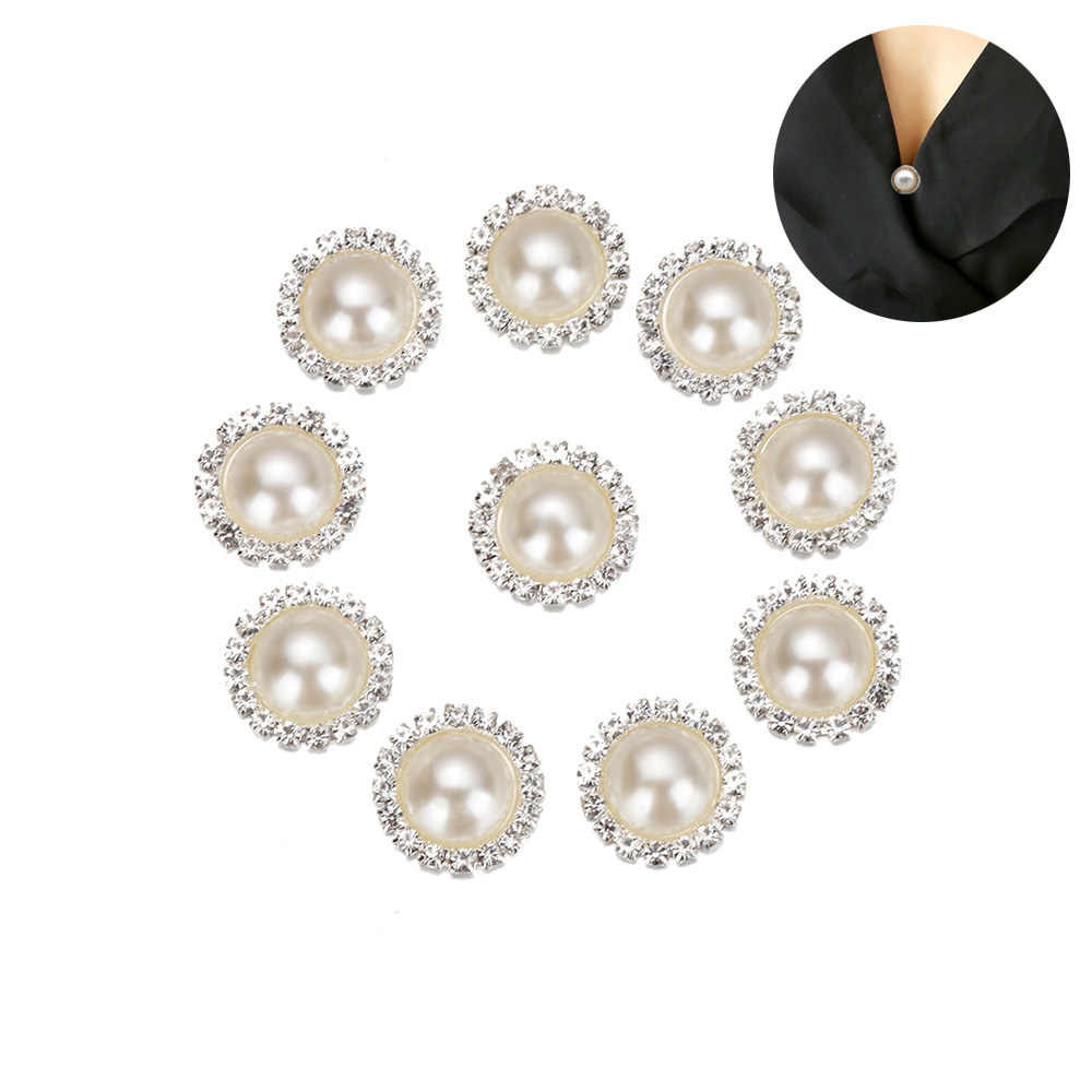 10Pcs Ivory Pearls Rhinestones Buttons Metal Wedding Invitations Decorate Button Trinket Hair Flower Center Scrapbooking