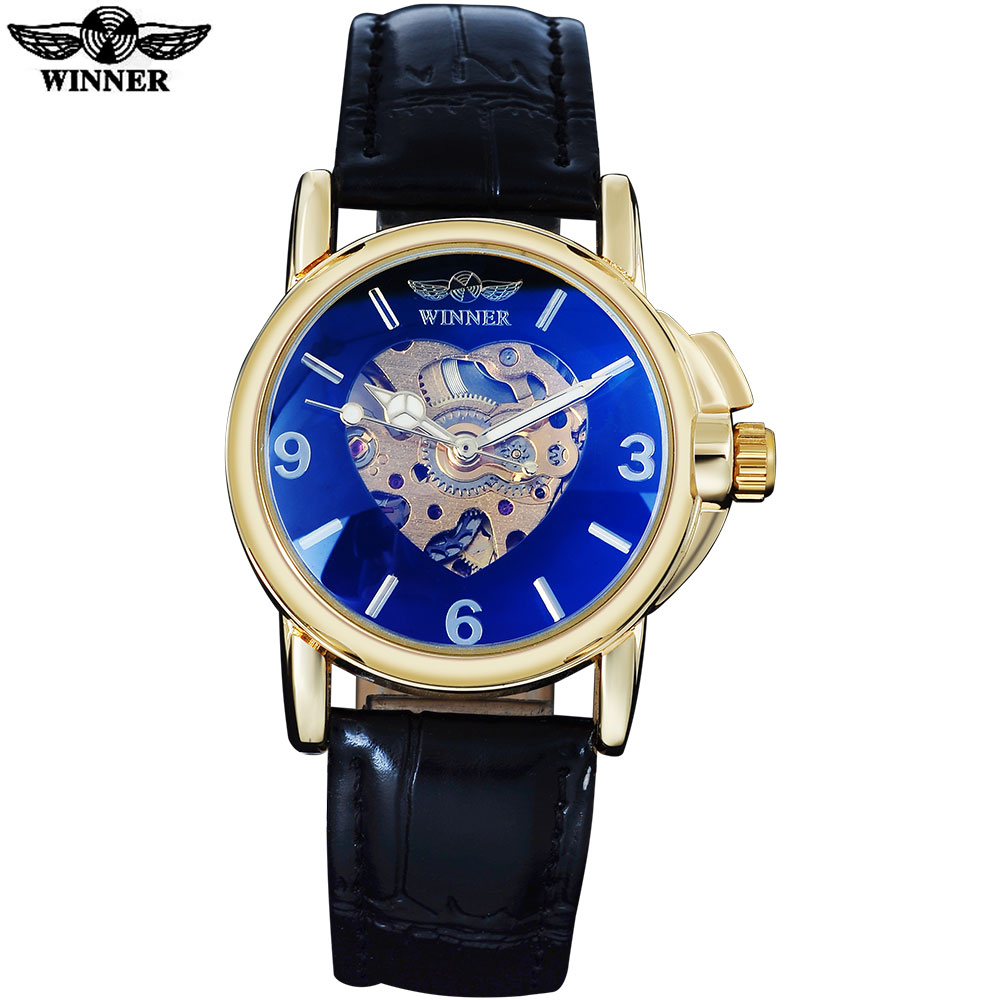 2016 WINNER popular brand women watches dress automatic self wind watch skeleton dials transparent glass gold case leather band forsining 2016 popular brand men watches simple automatic mechanical watch skeleton white dials gold case stainless steel band
