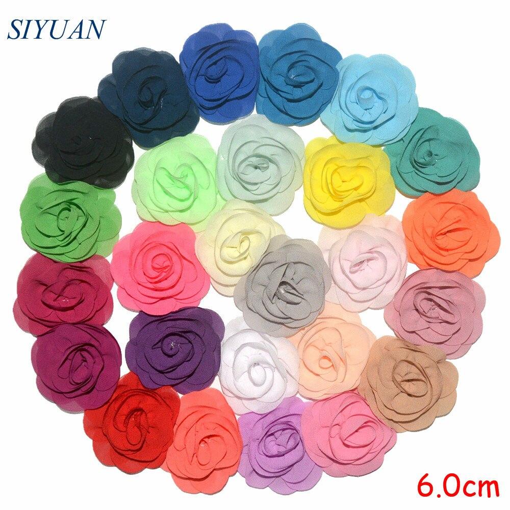 Wholesale 200pcs lot 6cm Chic Fabric Chiffon Flower Girl Hair Clip Fashion Headwear You Pick Color