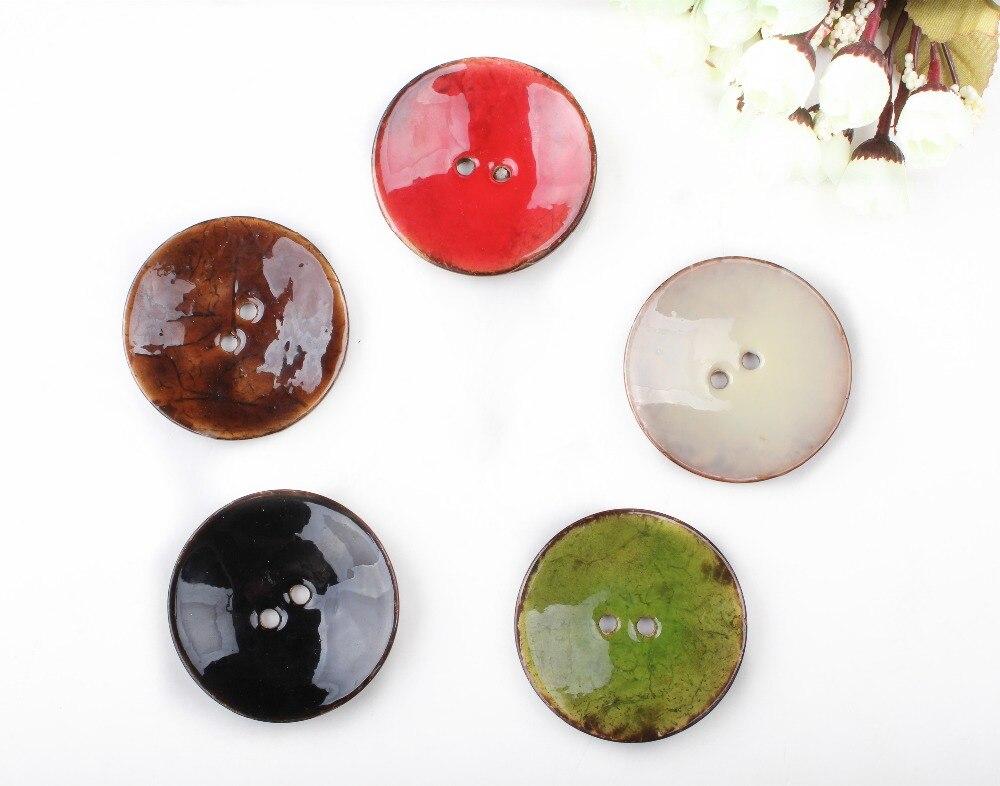 1 шт. 2 отверстия эмаль шесть цветов Кокосовая оболочка пуговицы подходят для шитья и скрапбукинга 63 мм декоративные пуговицы XP0399