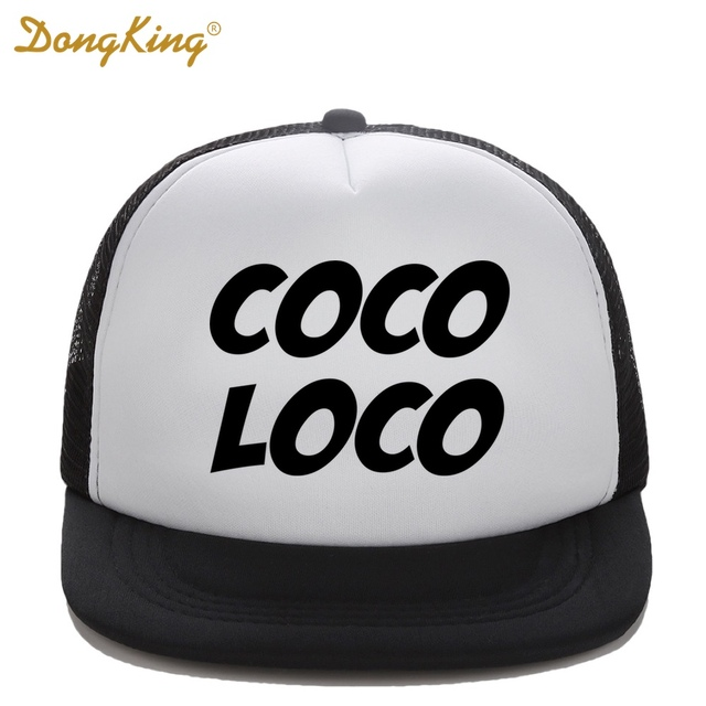 DongKing Kids Trucker Hats COCO LOCO Print Funny Child Baby Boy Girl Trucker  Cap Top Quality Mesh Baseball Caps Summer Gift 2981f90b15eb