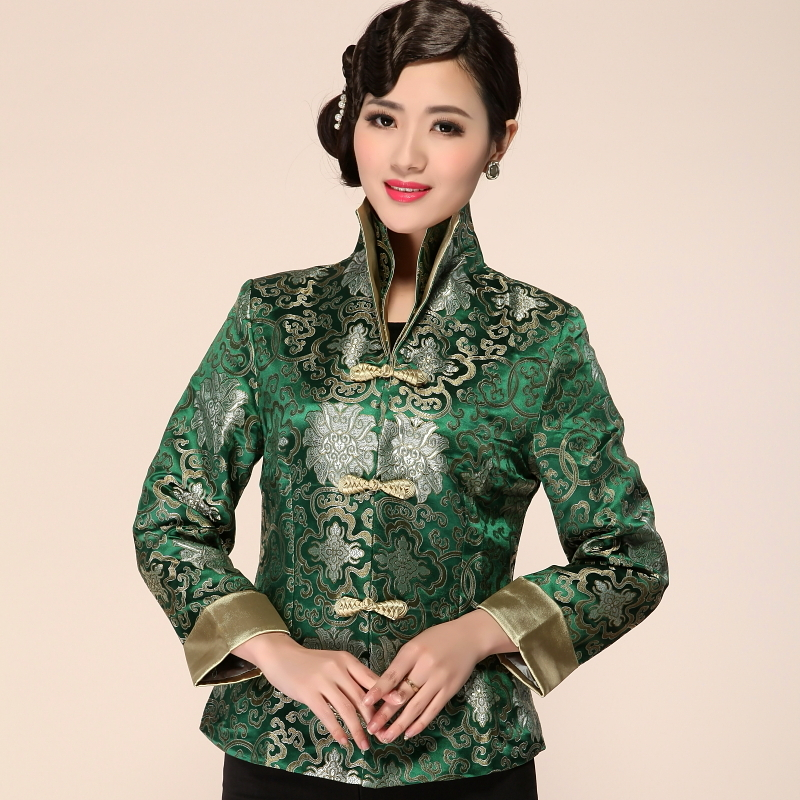 Hot Sale High Quality Green Lady Satin Slim Coat Chinese Traditonal Style V Neck Jacket One