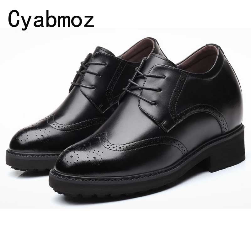 Extra High 4.7 Inches Men Elevator Shoes Split Leather Height Increased 12 CM Business Dress Formal Brogues Wedding Party Shoes genuine leather heightening elevated oxfords men s formal business boots elevator 3 15 inches
